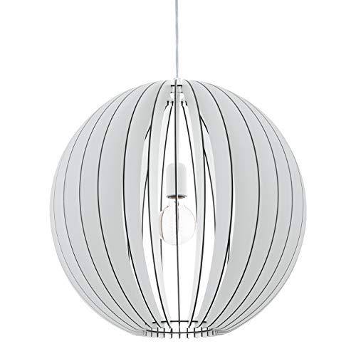 EGLO Holz Pendellampe Cossano, 1 flammige moderne Pendelleuchte, Hängeleuchte aus Holz und Stahl, Farbe: weiß, Fassung: E27, Ø: 50 cm
