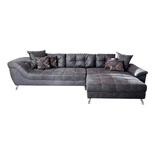 Riess Ambiente Design Ecksofa Genesis 360cm Vintage grau Microfaser inkl. Kissen Couch Wohnlandschaft Ottomane beidseitig aufbaubar