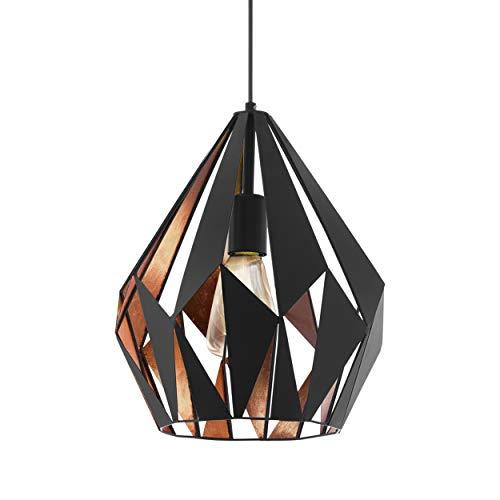 EGLO Pendellampe Carlton 1, 1 flammige Vintage Pendelleuchte, Retro Hängelampe aus Stahl, Farbe: schwarz, kupfer, Fassung: E27, Ø 31 cm