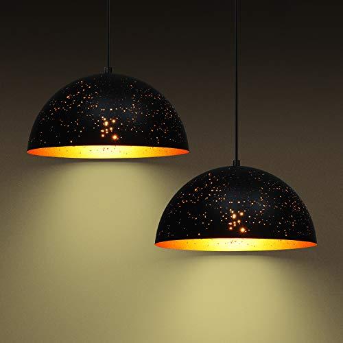 Deckey 2x Lochmuster Pendelleuchte Korrodiert Hängeleuchte Leuchten Φ 30cm mit für E27 Leuchtmittel, Außen schwarz und Innen gold, für Wohnzimmer Esszimmer Restaurant Keller Untergeschoss usw.