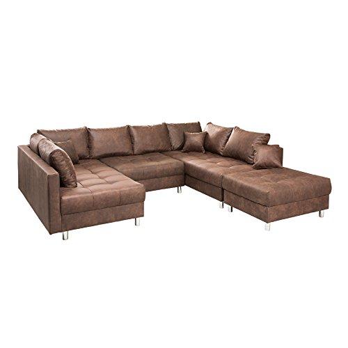 Riess Ambiente Modernes XXL Sofa Kent 305cm braun Federkern inkl. Hocker und Kissen Sofa Schlafsofa Schlafcouch Couch Wohnlandschaft Eckcouch mit Schlaffunktion