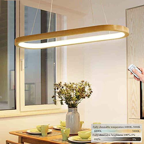 Hängeleuchte LED Dimmbar Holz Esszimmerlampe, Ring Pendelleuchte L90cm Esstisch Holzlampe, Modern Design Esstischlampe, höhenverstellbar Wohnzimmer Flur Küche Arbeitszimmer Schlafzimmer 41W Hängelampe