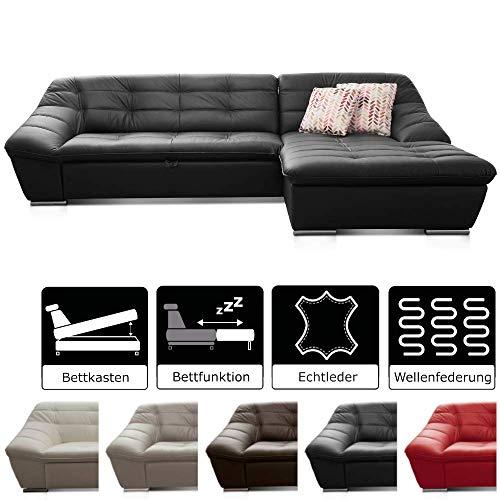 Cavadore Leder-Sofa Lucas / Ledercouch mit Steppung und Schlaffunktion / Longchair rechts / Inkl. Bett und Bettkasten / Größe: 287 x 81 x 165 (BxHxT) / Leder schwarz