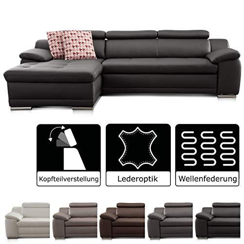 Cavadore Ecksofa Aniamo mit XL-Longchair links / Leder-Eckcouch mit Kopfteilfunktion im modernen Design / Sitzecke für Wohnzimmer in Lederoptik / Größe: 270 x 165 x 80 cm (BxHxT) / Kunstleder schwarz